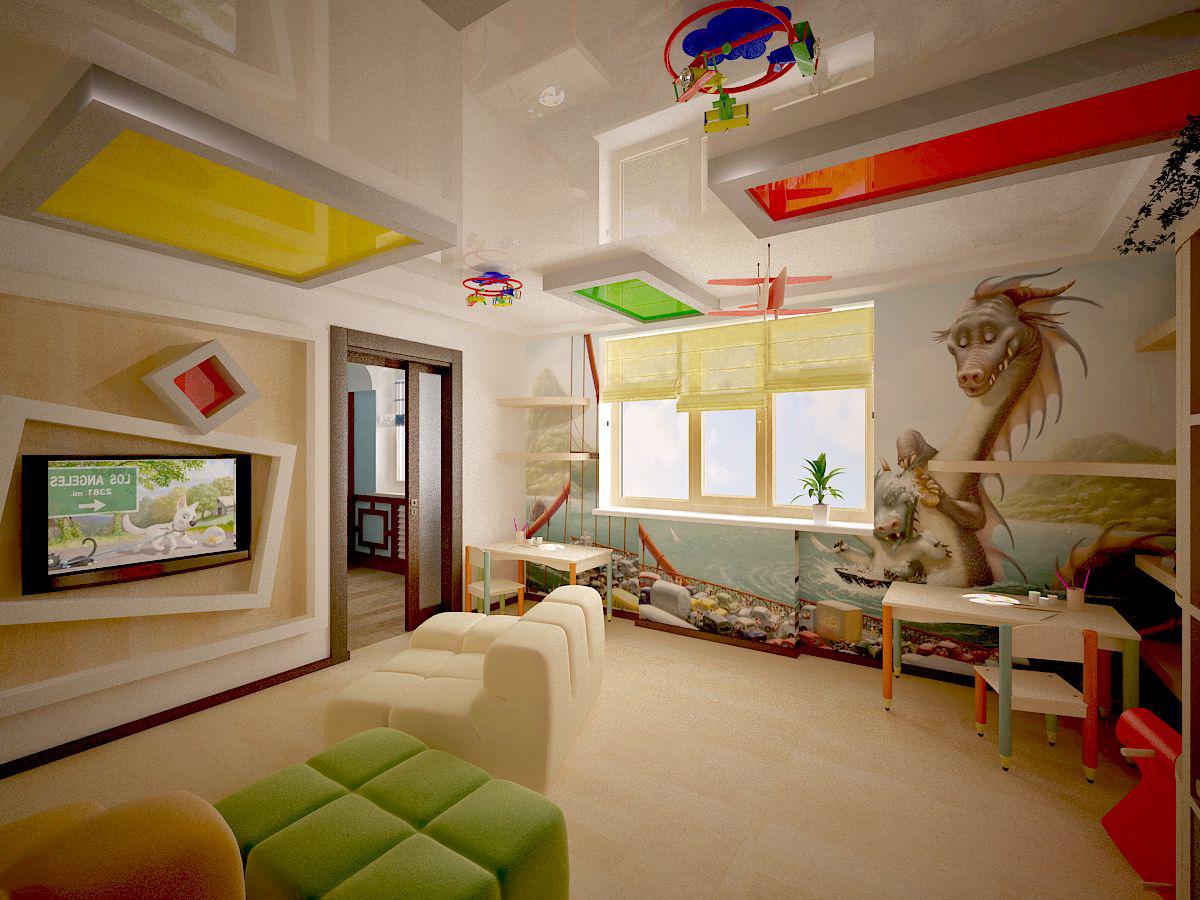 Потолок в детской идеи фото