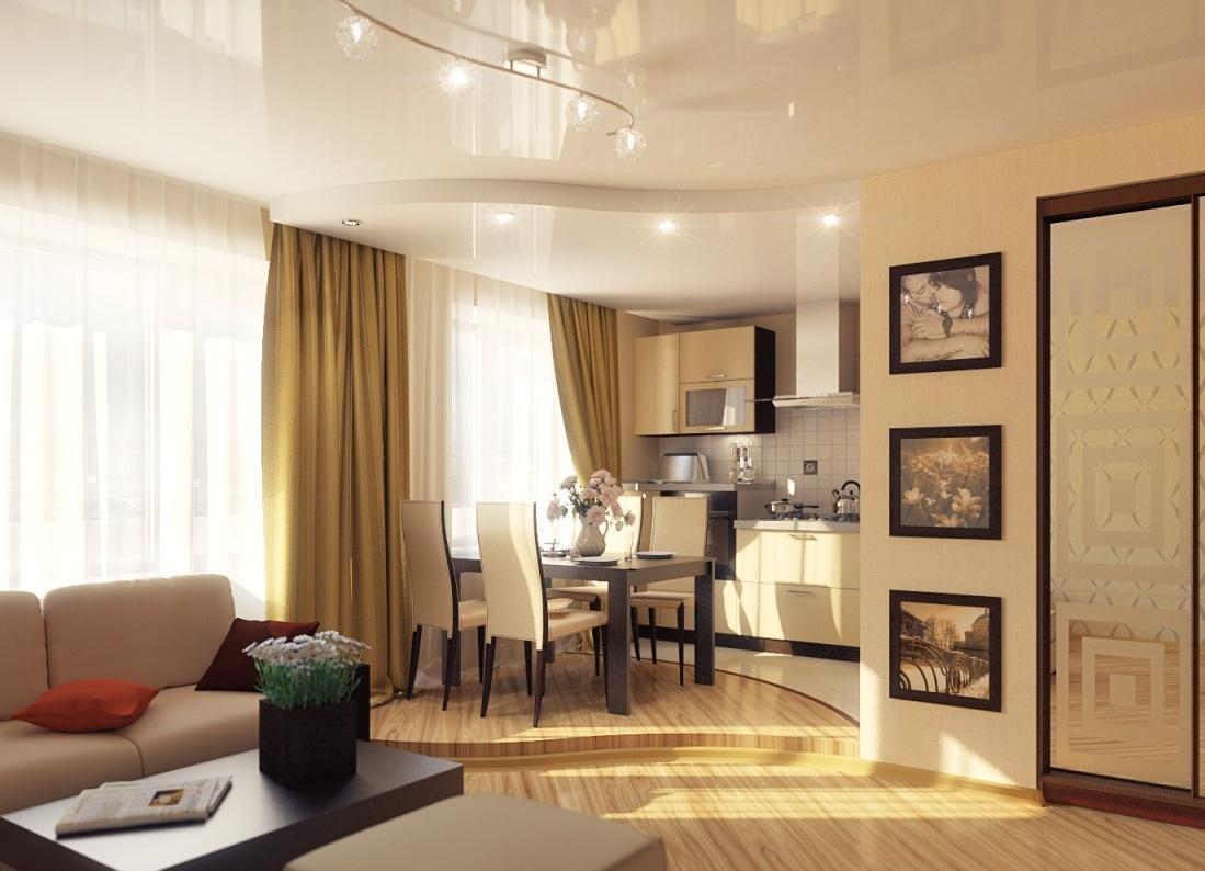 фото потолок гостиная кухня
