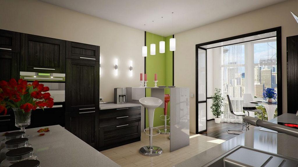 Дизайн кухни с балконом.