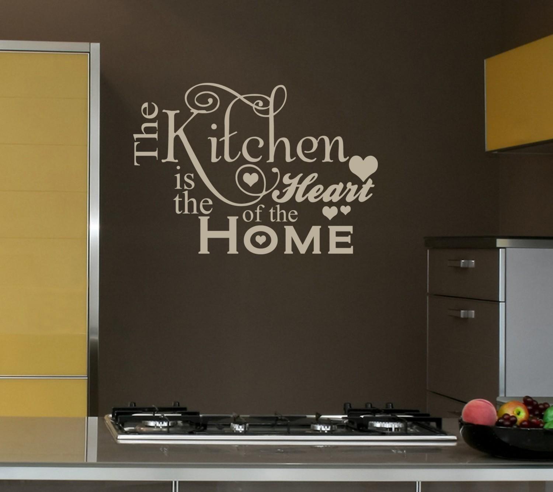 Надписи на стене в интерьере на кухне