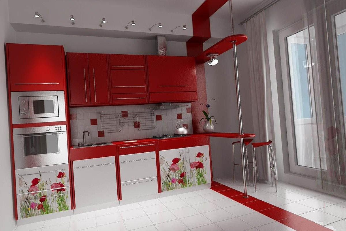 Маленькие красные кухни дизайн
