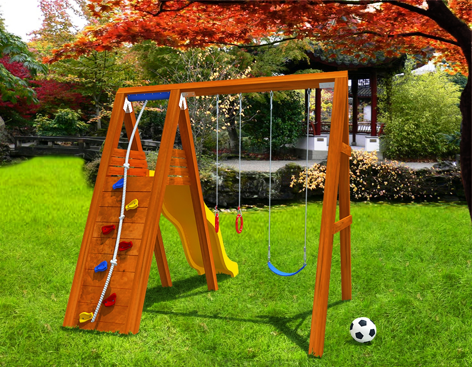 Спортивный уголок для детей на даче фото