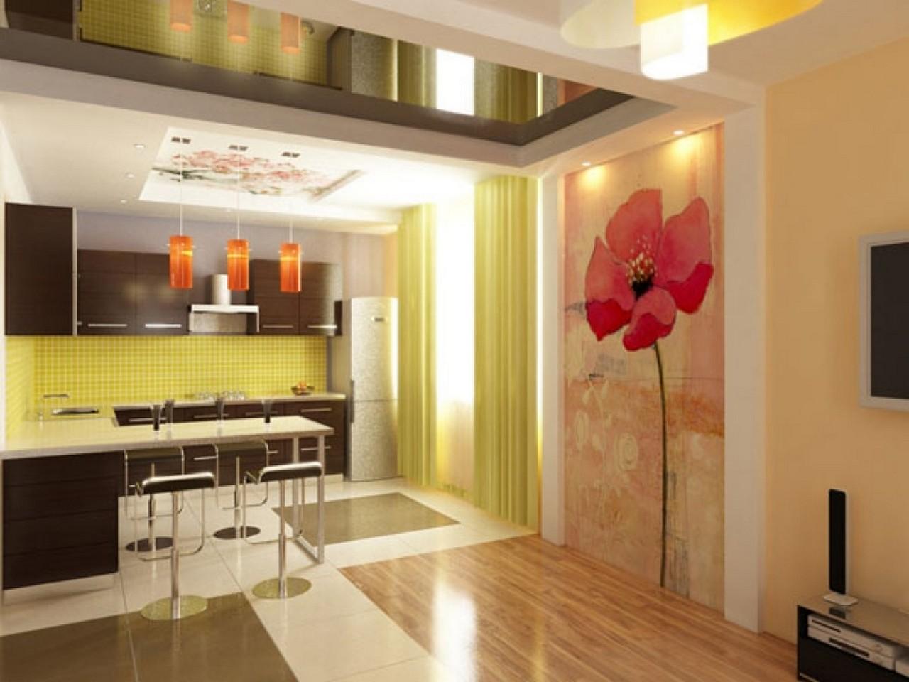 Дизайн кухни 13 квм с барной стойкой и диваном