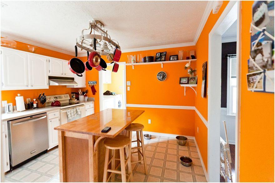 Стены кухня в оранжевом цвете дизайн