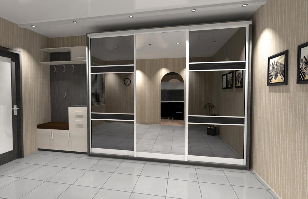Дизайн встроенного шкафа в прихожей 150