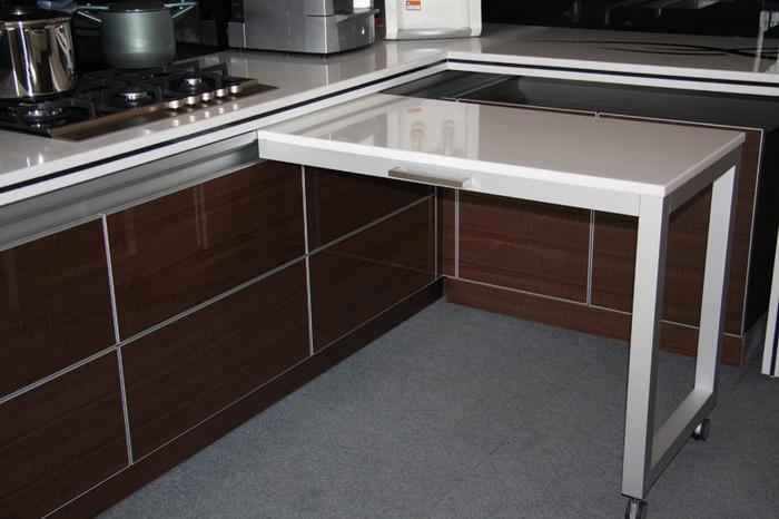 Выдвижной стол на кухне (47 фото): кухонный стол с выдвигающ.