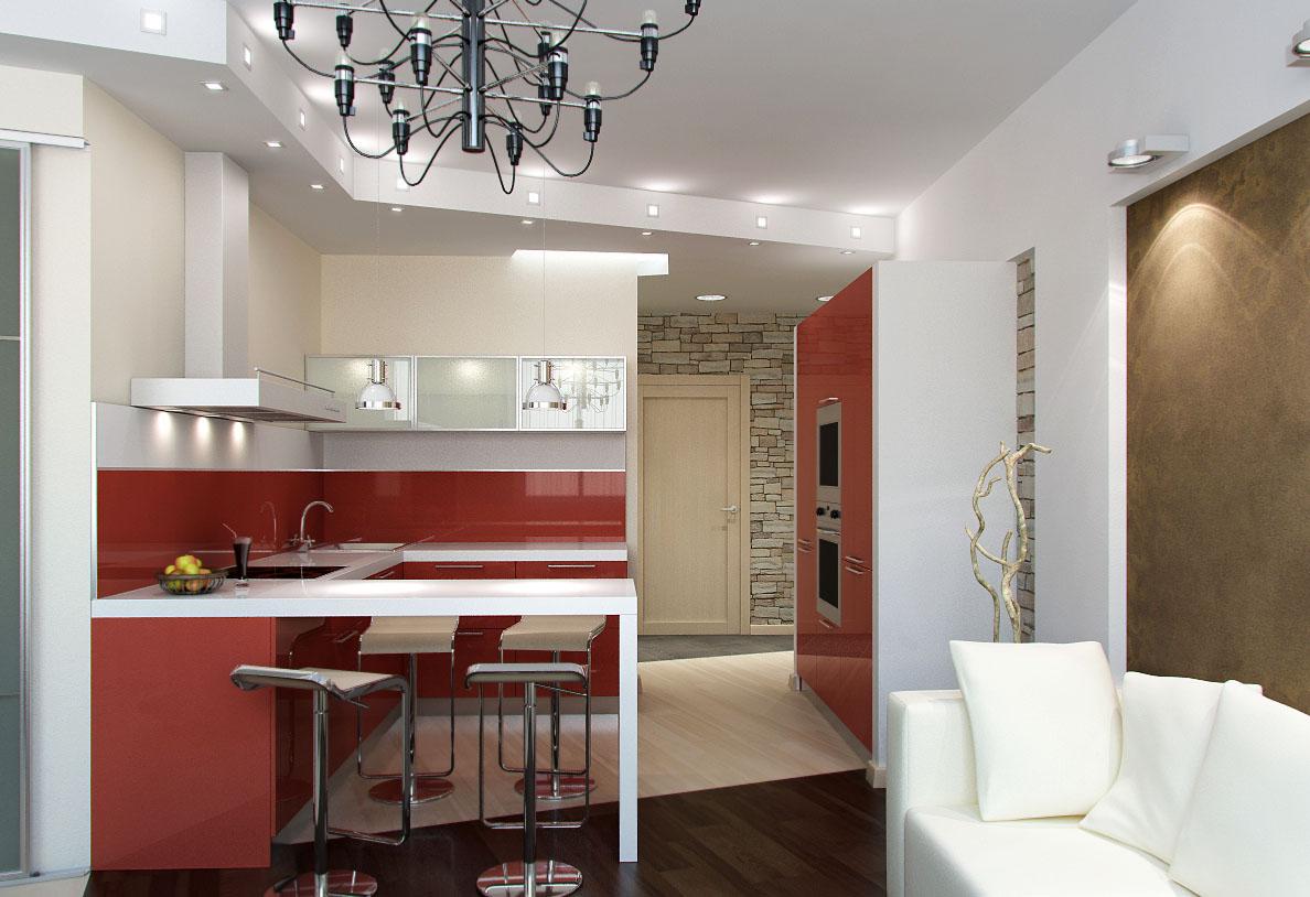 Дизайн прямоугольной кухни 12 квм с диваном