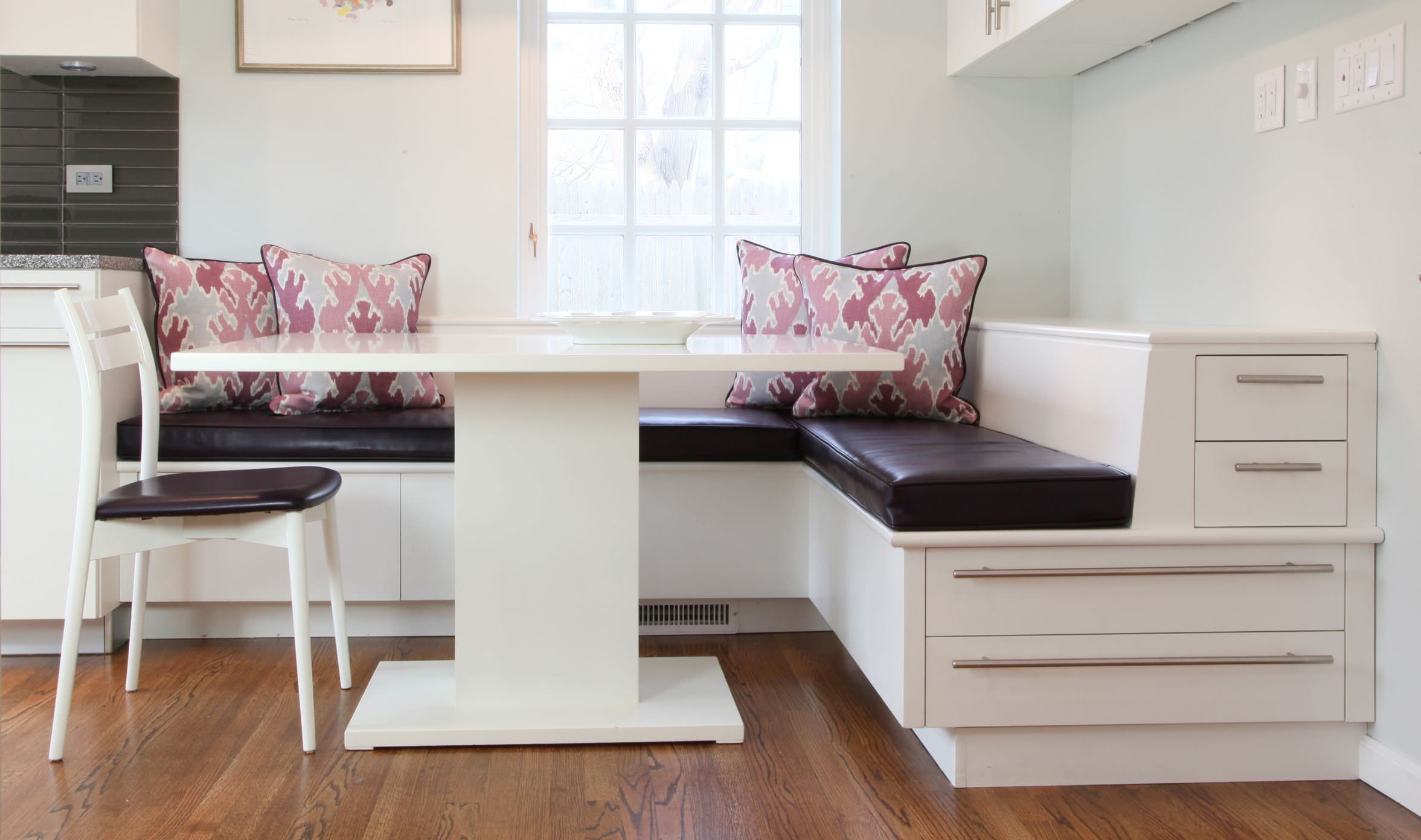 Dining room table with bench seating