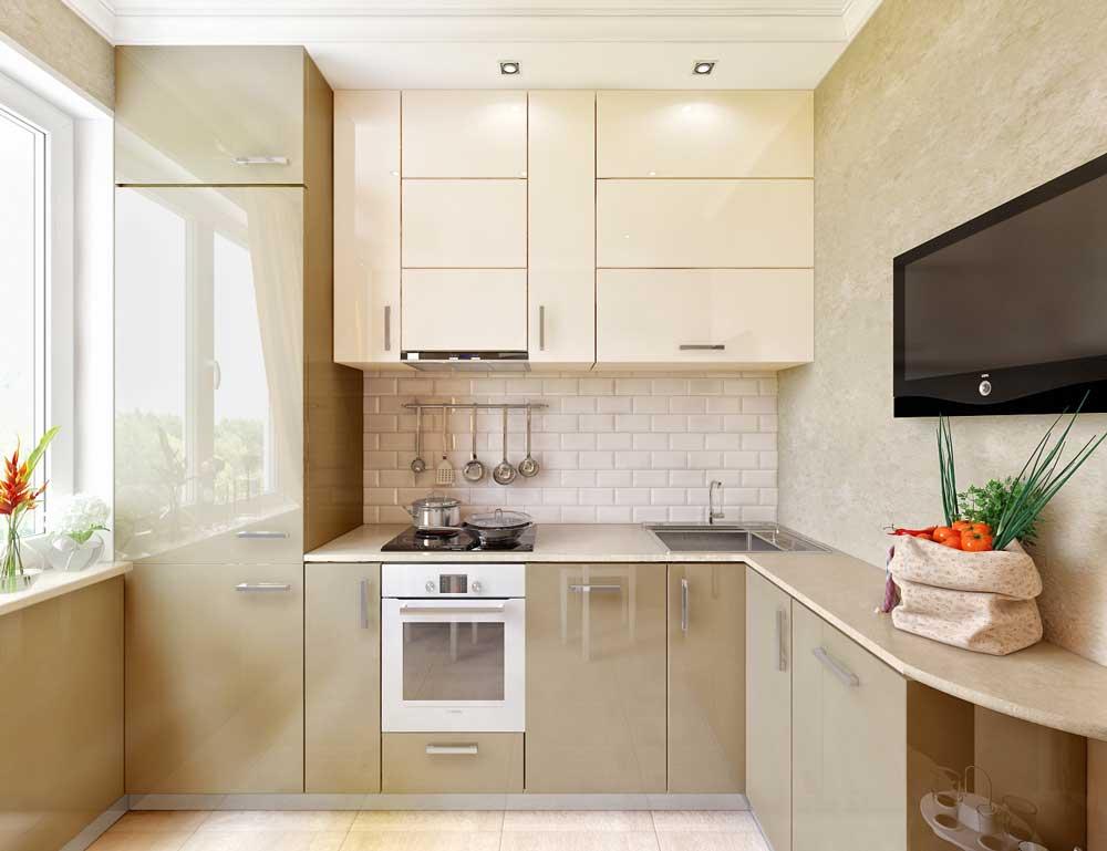 маленькая кухня дизайн фото 7 кв м с холодильником 3