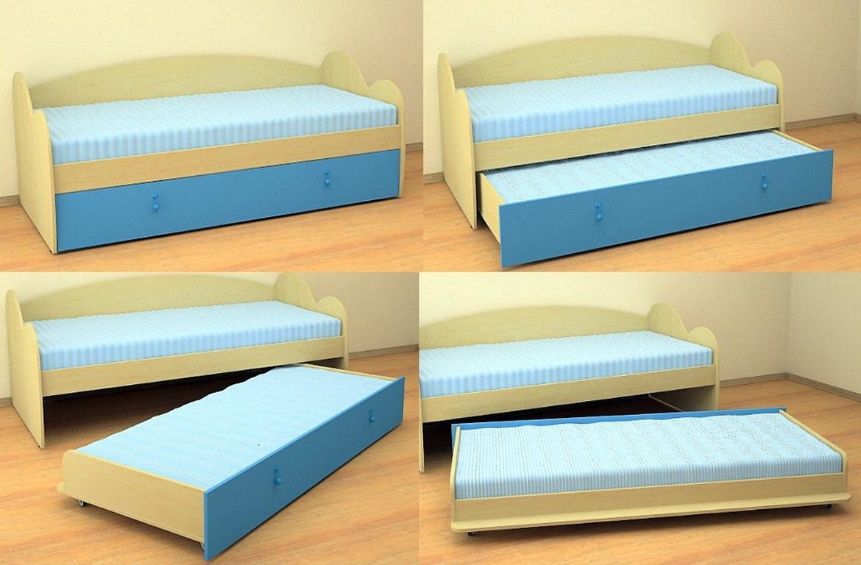 Детская двойная кровать выдвижная