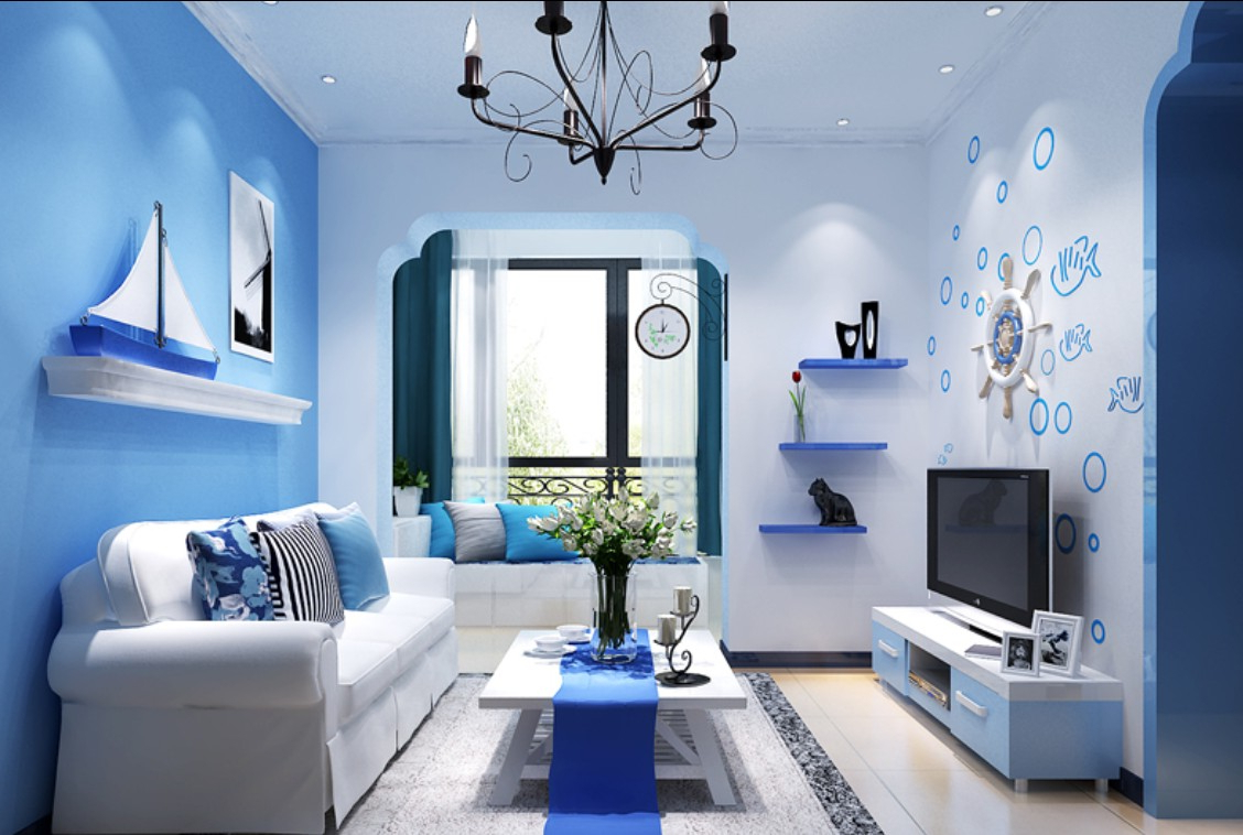 цвете фото в синего обои интерьере
