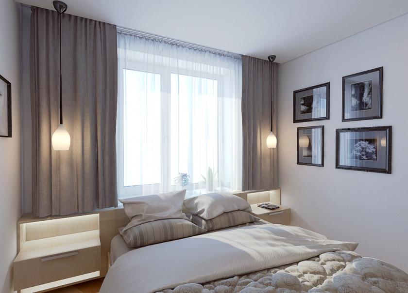 Дизайн спальни если окно перед кроватью