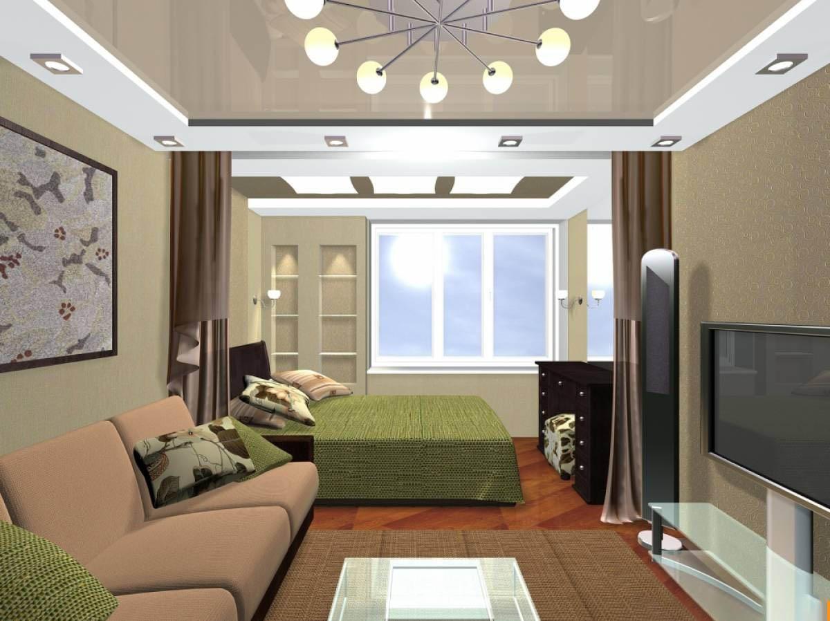 Дизайн комнаты 18 кв.м спальни-гостиной с балконом