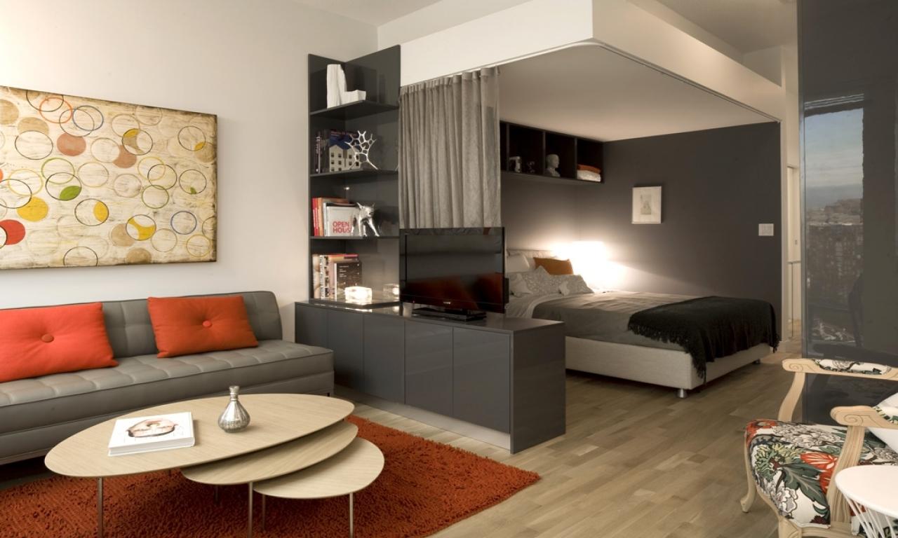 Дизайн комнаты разделённой на 2 зоны
