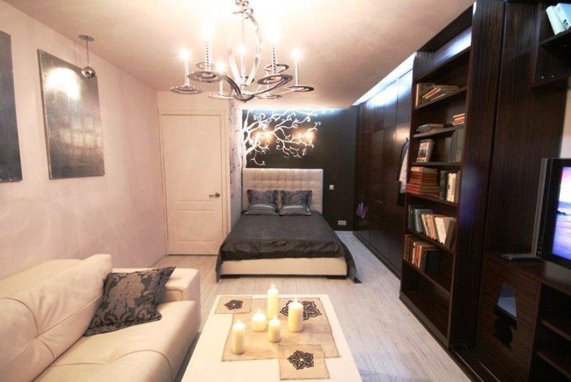 Дизайн спальня гостиная 18 кв.м