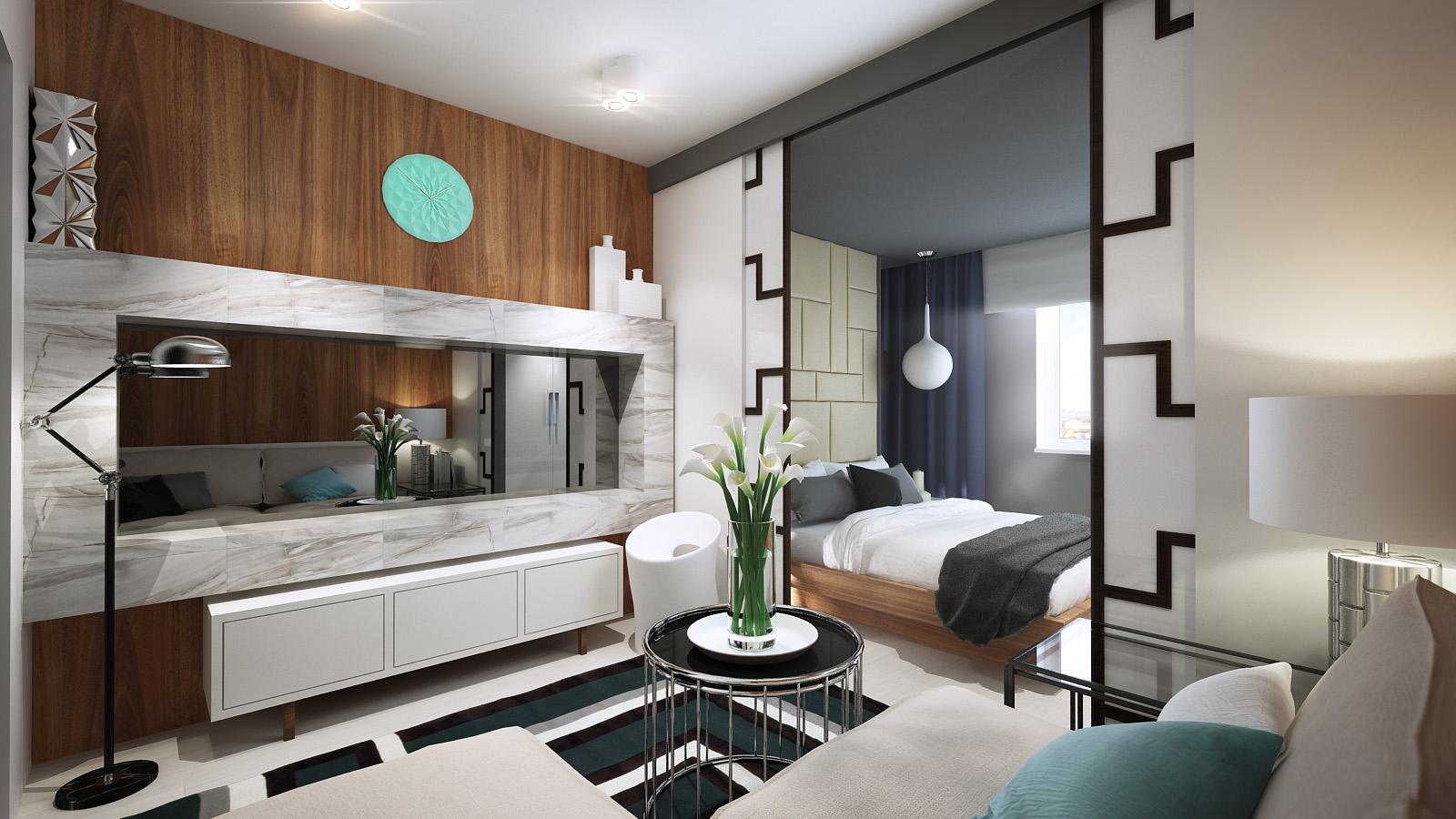 Дизайн проект гостиной спальни в одной комнате 20 квм
