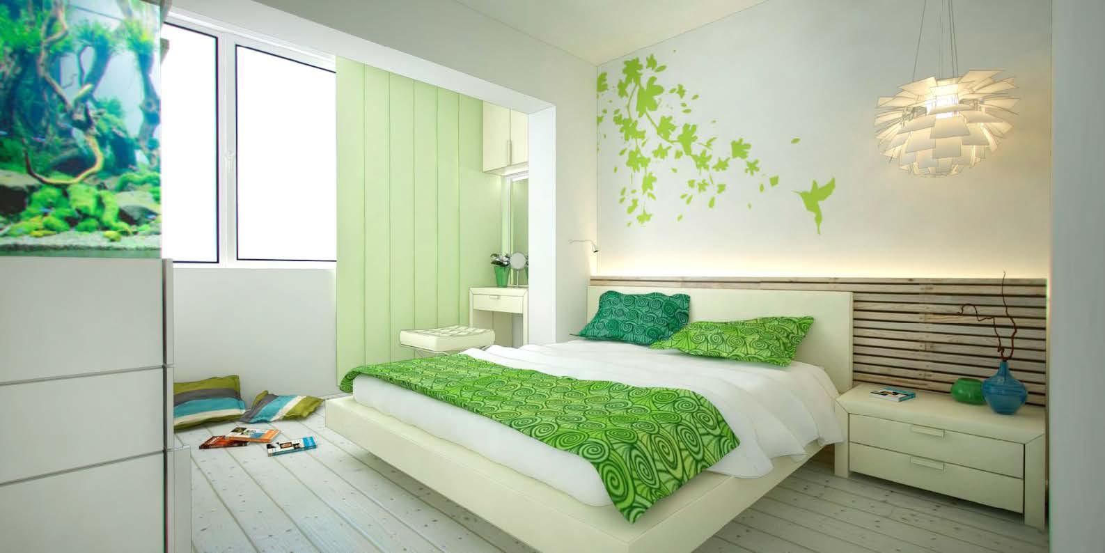 Дизайн спальни в зеленых оттенках