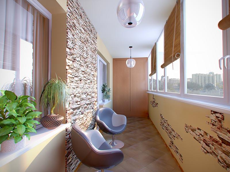 Стоимость отделки балкона под ключ с материалом искуственным камнем.