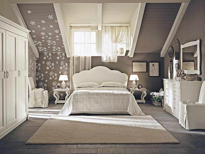 Интерьер спальни в мансардной в стиле 198