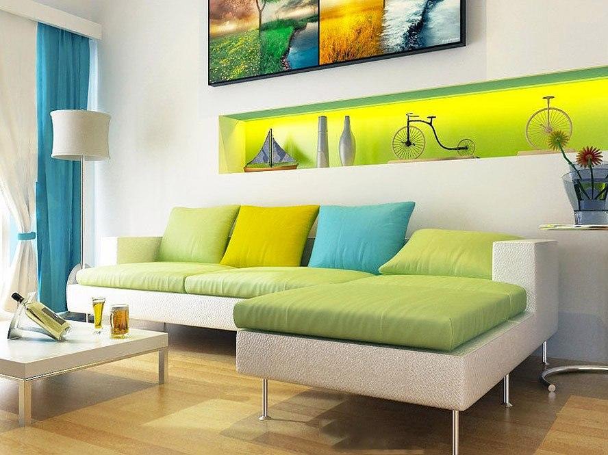Желто-зеленые обои в интерьере фото