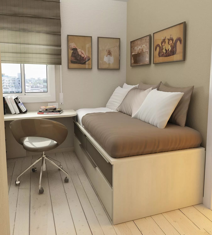 Интерьер маленькой комнаты с кроватью фото