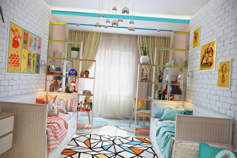 Фото интерьер детской комнаты для разнополых детей