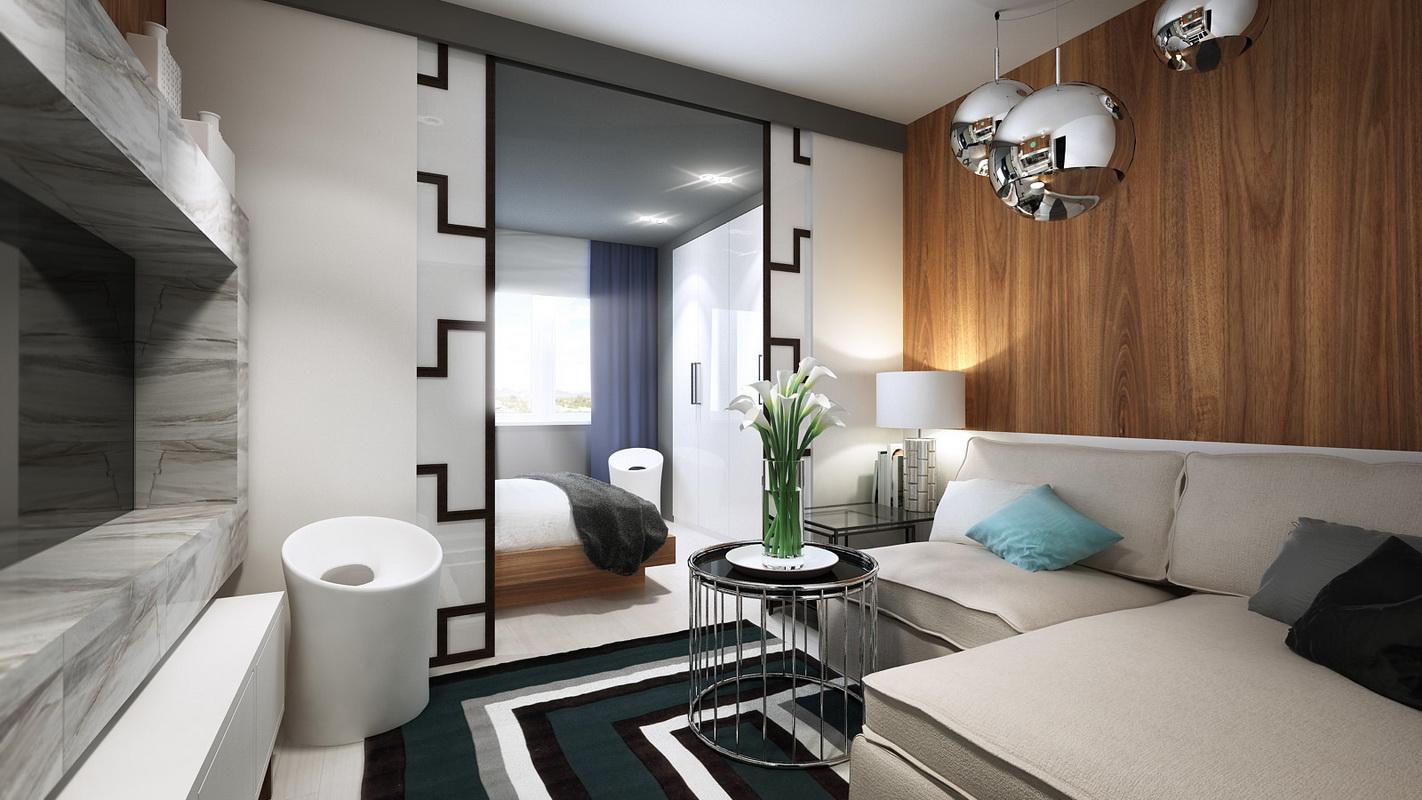 Дизайн спальни гостиной 26 квм