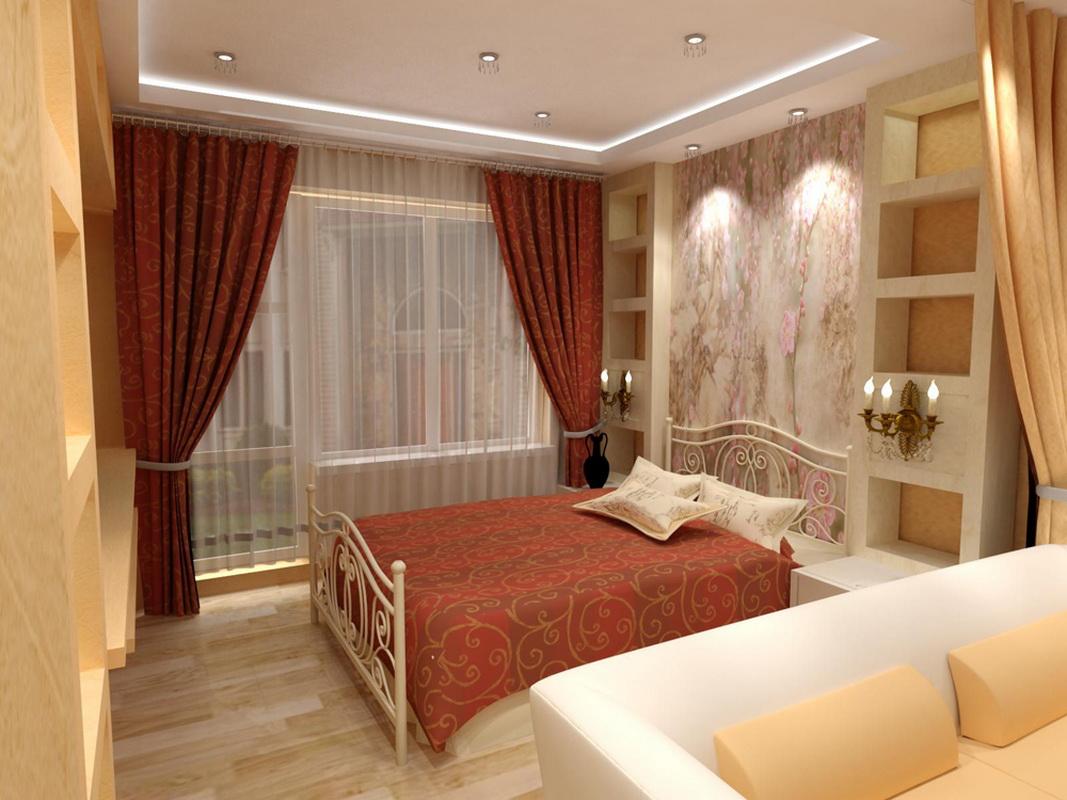 Дизайн комнаты с двумя окнами 18 квм спальни гостиной с.