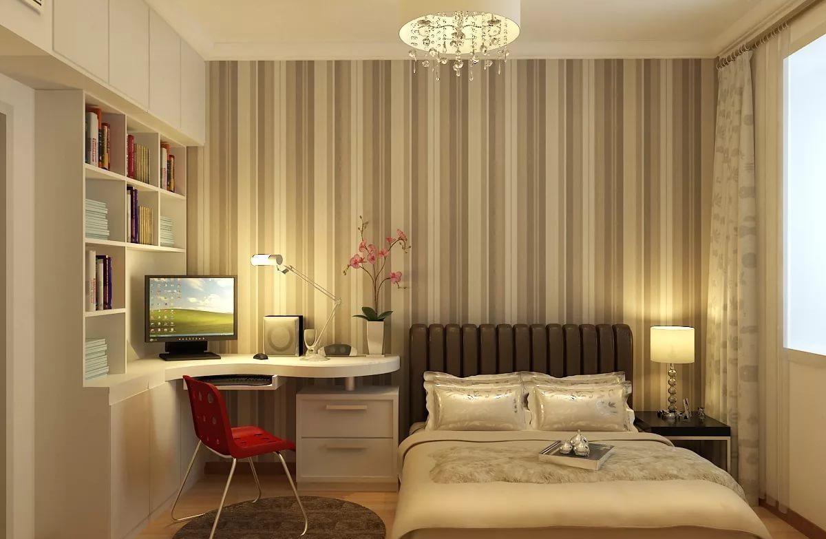 Дизайн спальни 18 метров с балконом зонирование