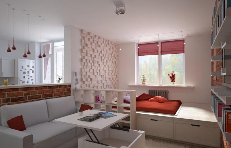 Дизайн студии с кроватью подиумом