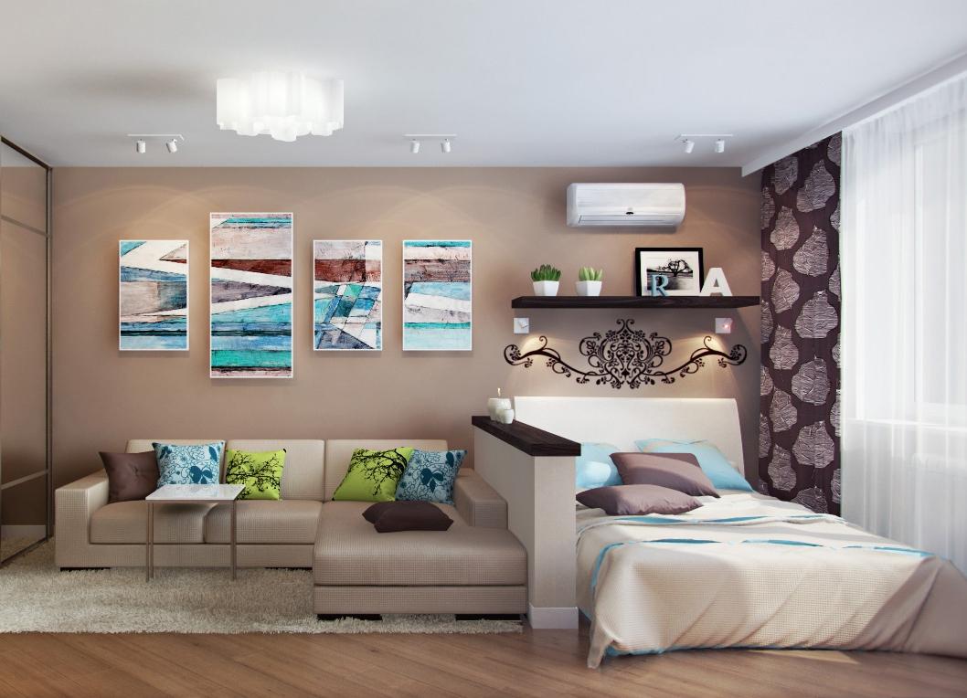 Дизайн спальни гостиной 17 кв.м