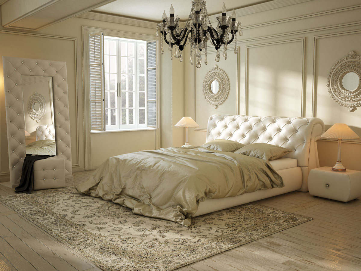 Стеганная кровать в интерьере