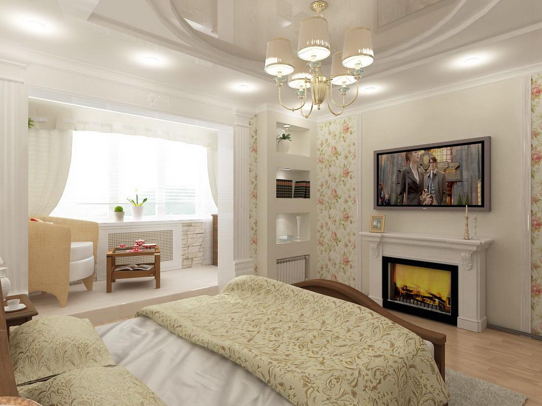 Интерьер спальни совмещенная с лоджией.