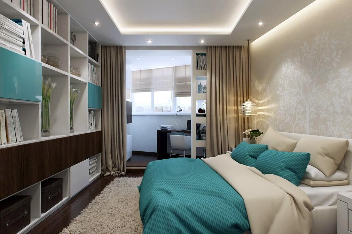 Дизайн спальни, совмещенной с балконом (64 фото): дизайн ком.