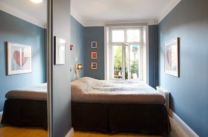 Спальня узкая комната дизайн