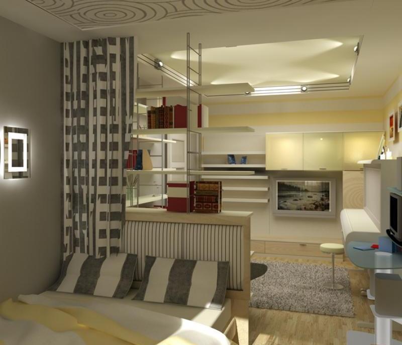 Дизайн спальни и гостиной в одной комнате 28... / интерьер /.