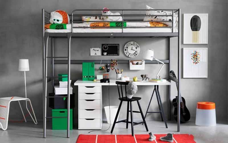 кровать чердак от Ikea 53 фото модели с рабочей зоной внизу