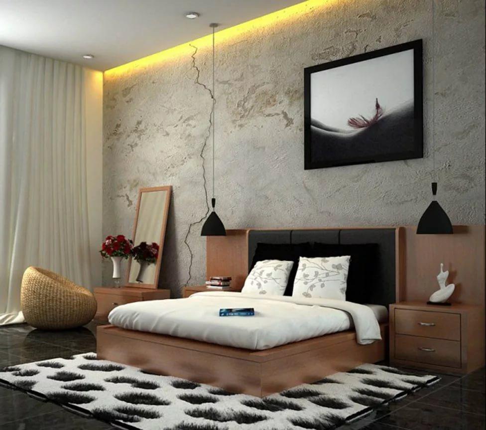 Дизайн спальни в черном тоне