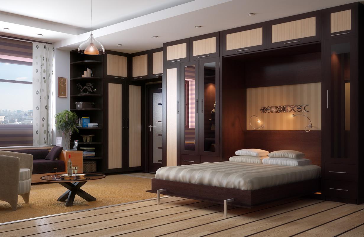 Идеи дизайна интерьера для маленькой комнаты спальни-гостино.