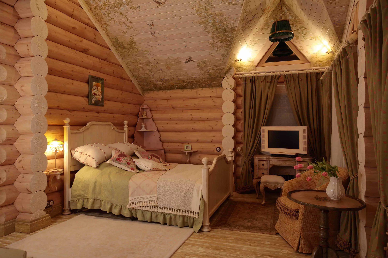 Интерьер спальни в деревянном доме фото своими руками