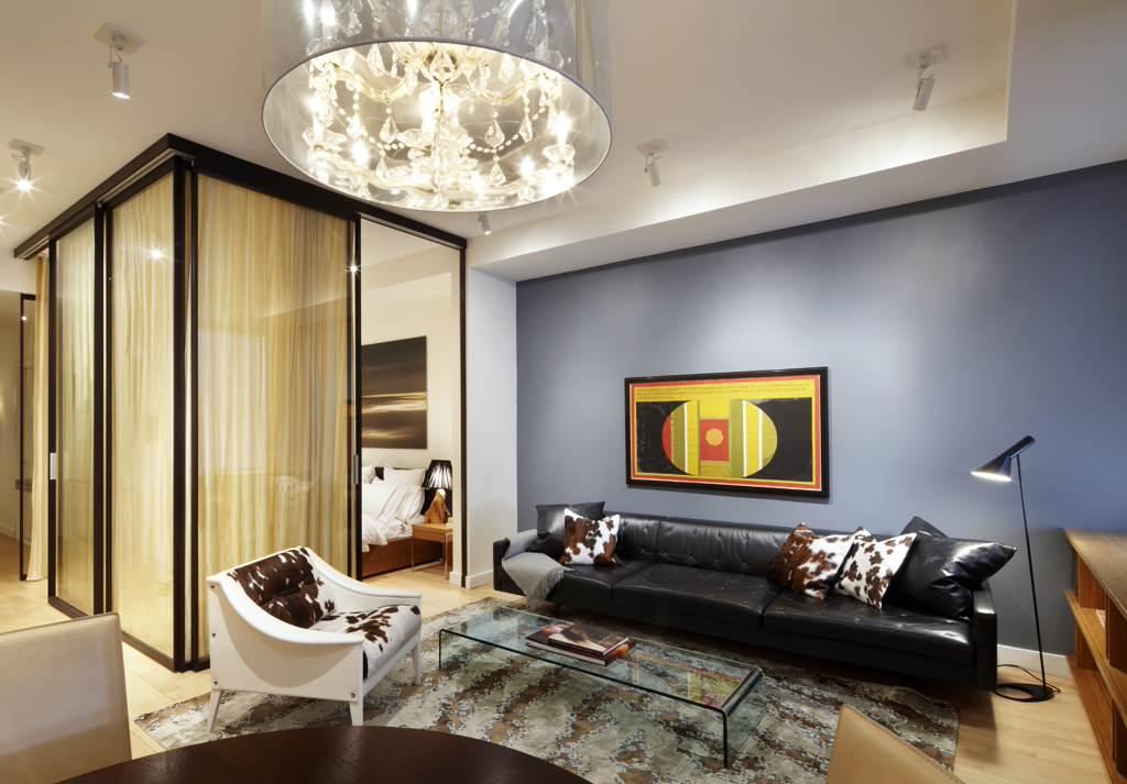 Дизайн гостиная совмещенная со спальней