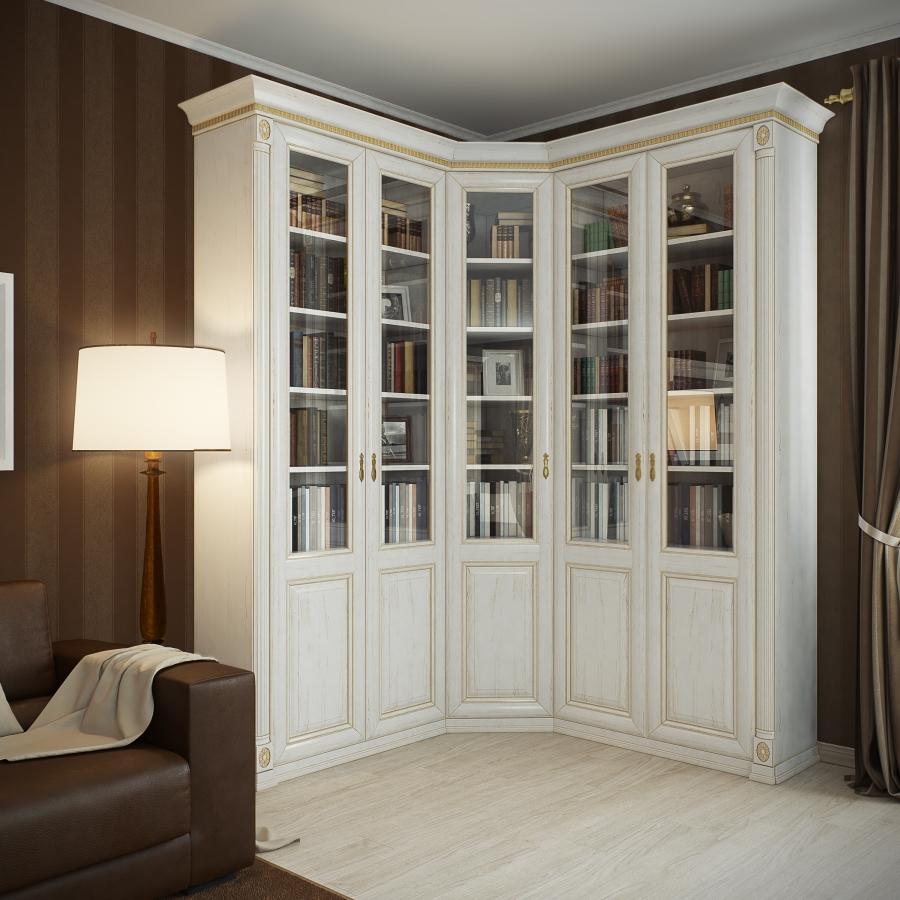 Книжные шкафы со стеклянными дверями белые.