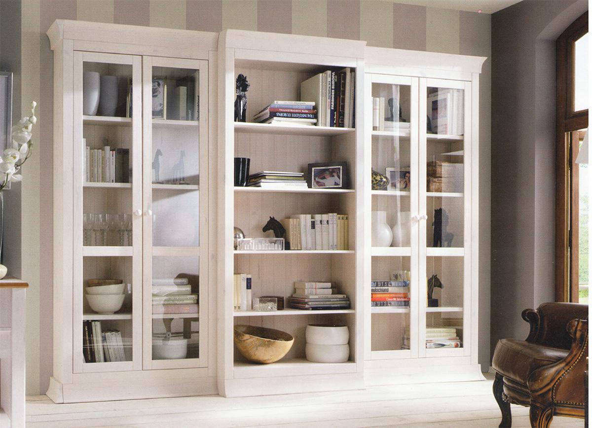 Белые книжные шкафы: шкаф со стеклянными дверцами, полки для.