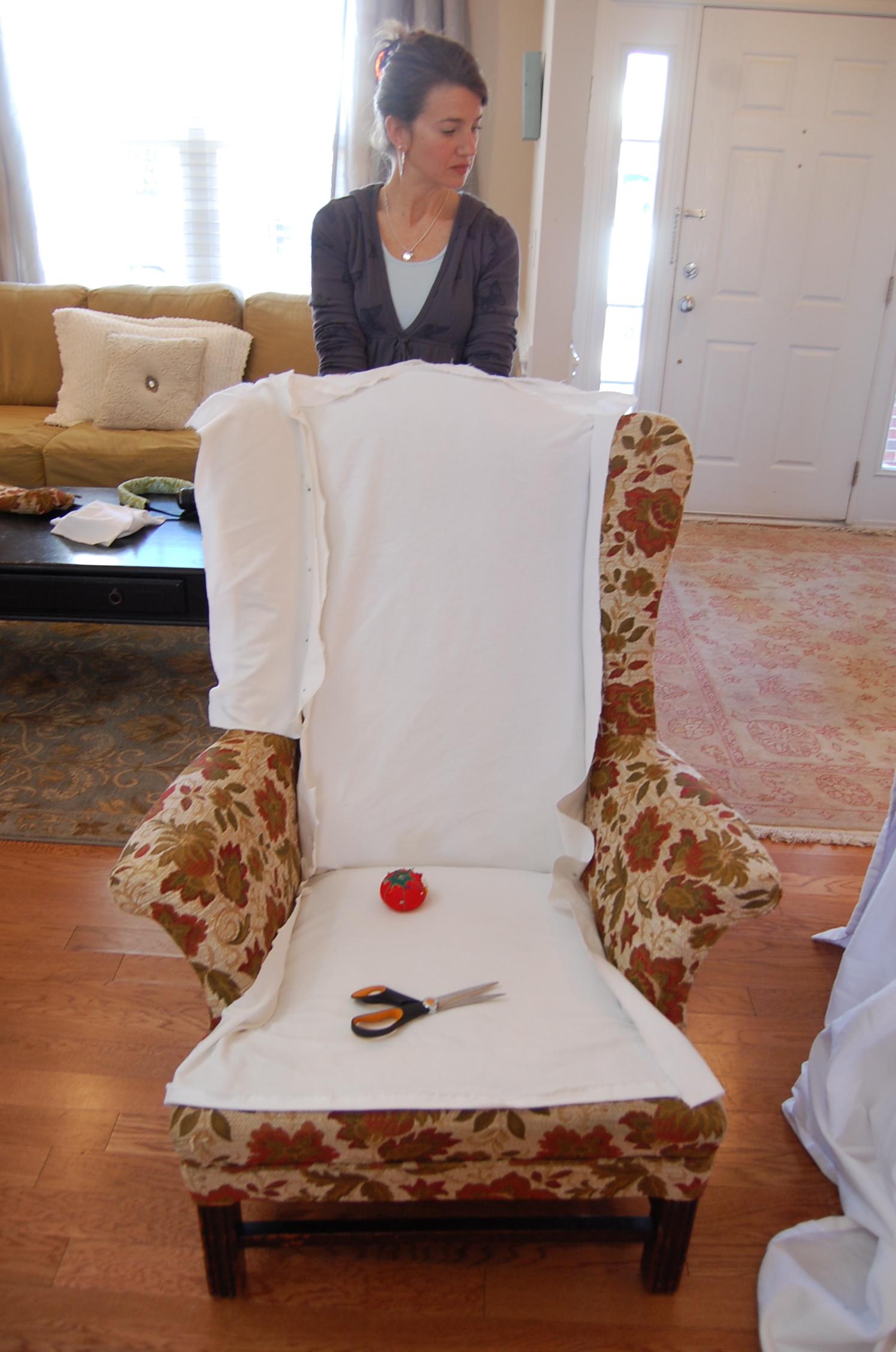 Накидка на старое кресло своими руками 31