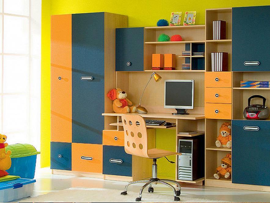 Детские стенки со столом и шкафом (42 фото): модели с письме.