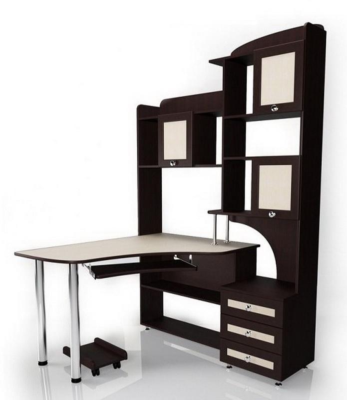 Компьютерные столы со шкафом (41 фото): угловые модели-транс.
