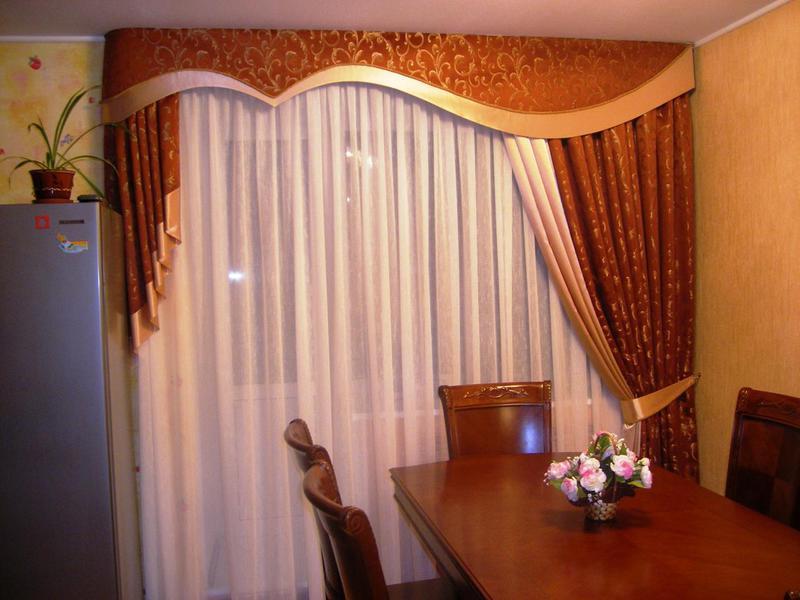 Как сшить комбинированные шторы в гостиную 7