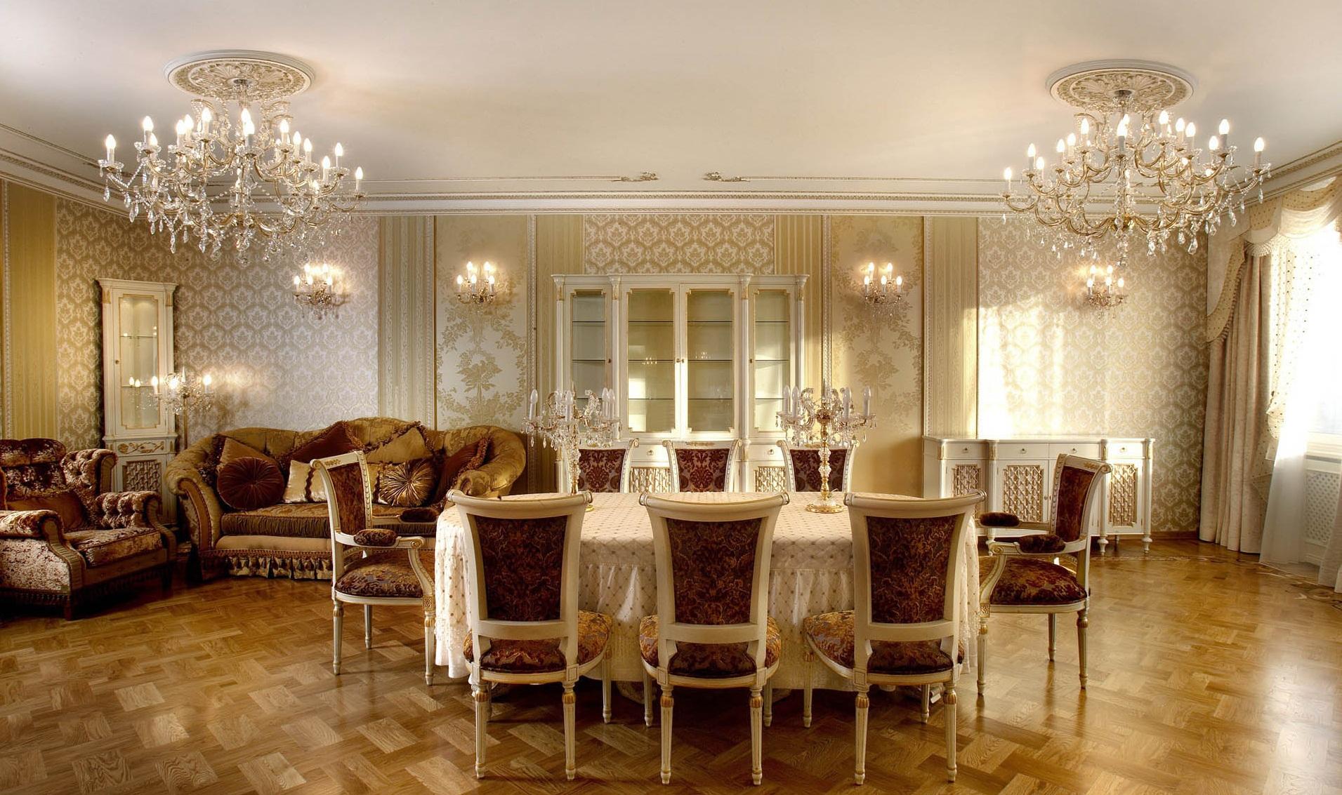 Интерьер для гостиной столовой в классическом стиле