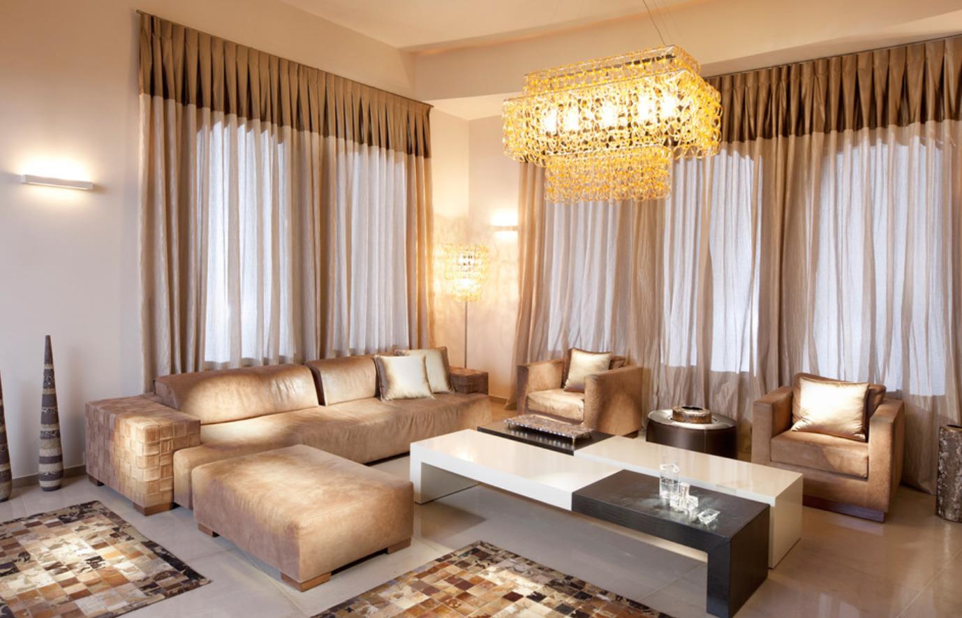 Модный дизайн штор для гостиной