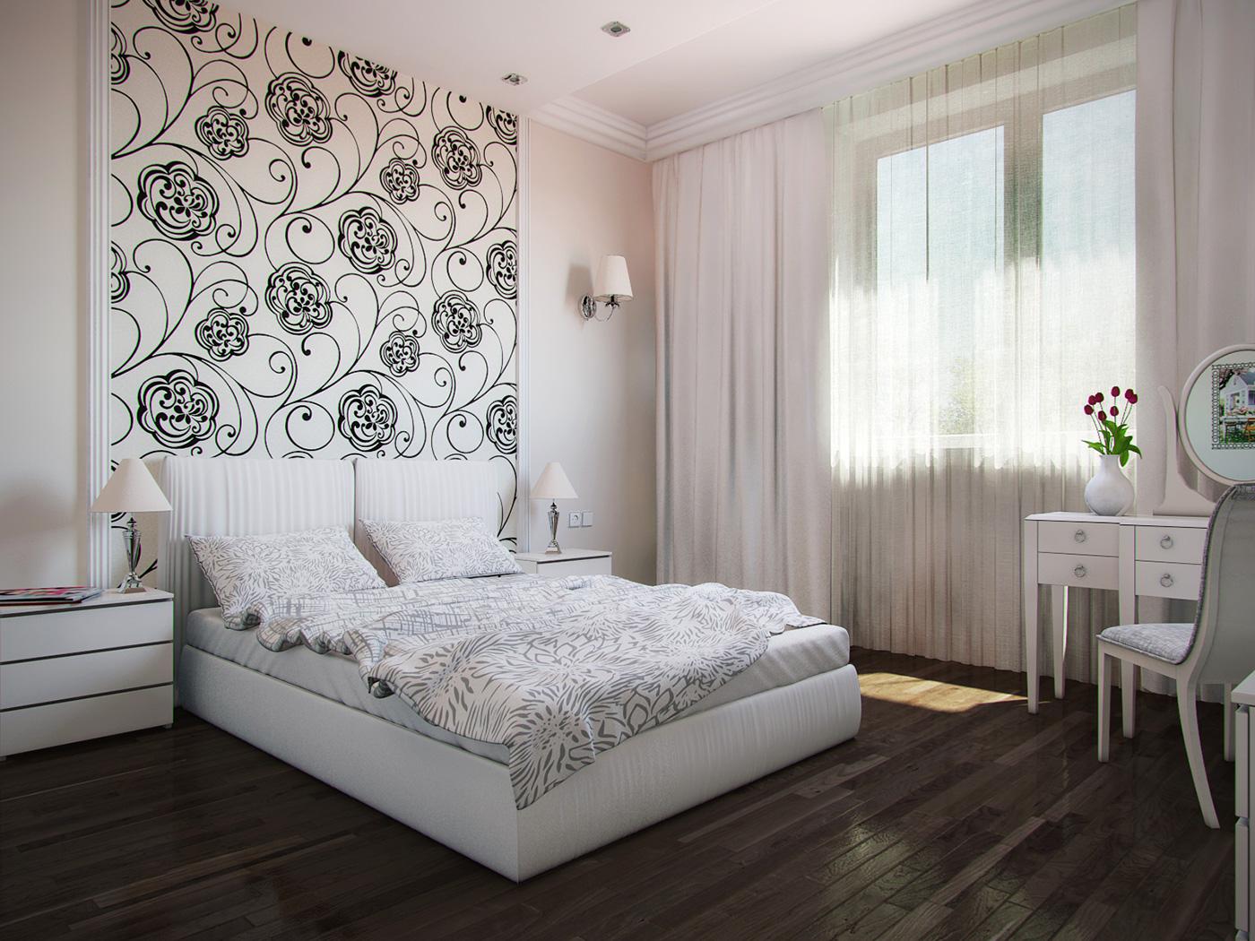 спальня обои дизайн фото